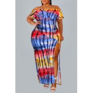 Off The Shoulder Side Split Multicolor Dress